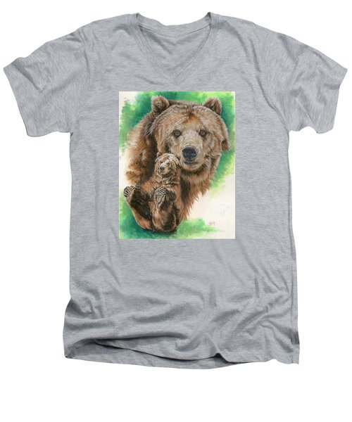Men's V-Neck T-Shirt featuring the painting Brawny by Barbara Keith