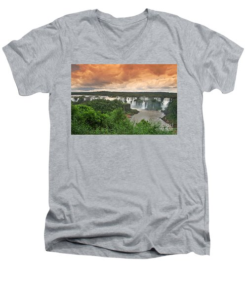 Men's V-Neck T-Shirt featuring the photograph Brazil,iguazu Falls,spectacular View by Juergen Held