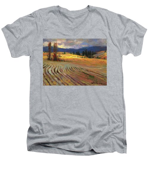 Men's V-Neck T-Shirt featuring the painting Break In The Weather by Steve Henderson