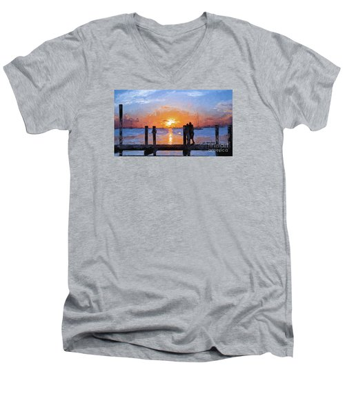 Men's V-Neck T-Shirt featuring the painting Break On Through  by Judy Kay
