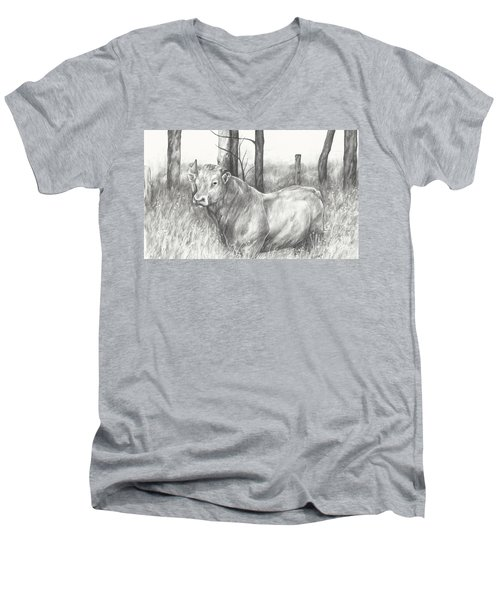 Men's V-Neck T-Shirt featuring the drawing Breaker Study by Meagan  Visser