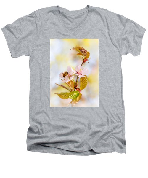 Men's V-Neck T-Shirt featuring the photograph Breakfast At Sakura by Alexander Senin