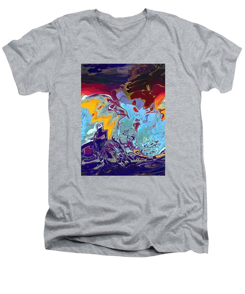 Breaking Waves Men's V-Neck T-Shirt by Alika Kumar