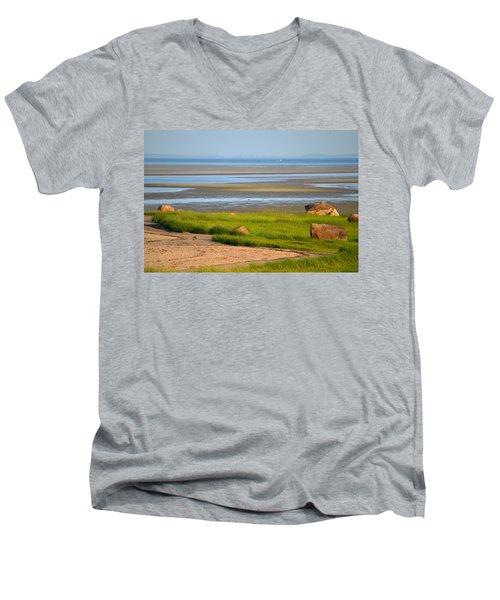 Breakwater Beach At Low Tide Men's V-Neck T-Shirt