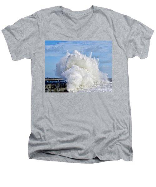 Breakwater Explosion Men's V-Neck T-Shirt by Michael Cinnamond
