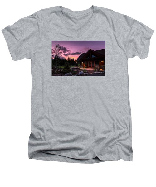 Breck Nordic Lodge Sunset Men's V-Neck T-Shirt