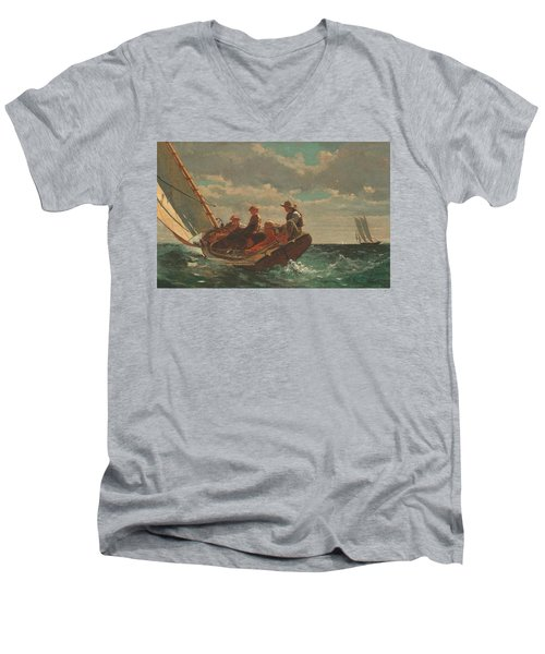 Men's V-Neck T-Shirt featuring the painting Breezing Up A Fair Wind - 1876 by Winslow Homer