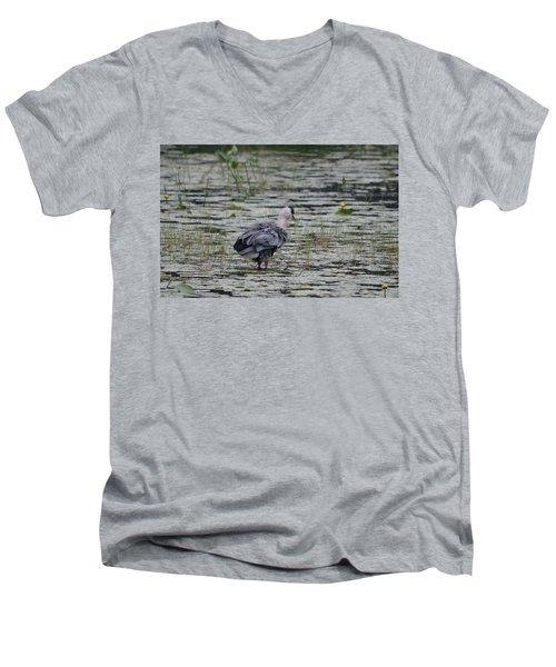 Breezy Blue- Great Blue Heron Men's V-Neck T-Shirt by David Porteus