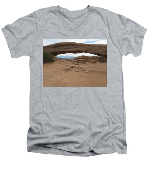 Men's V-Neck T-Shirt featuring the digital art Breezy Bridge by Gary Baird