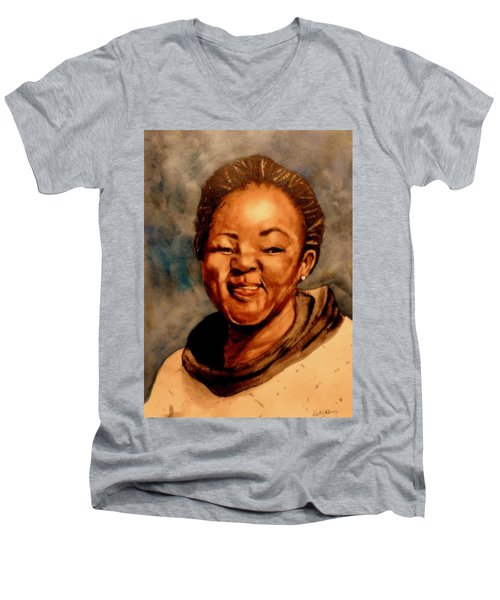 Men's V-Neck T-Shirt featuring the painting Brenda  by Betty-Anne McDonald