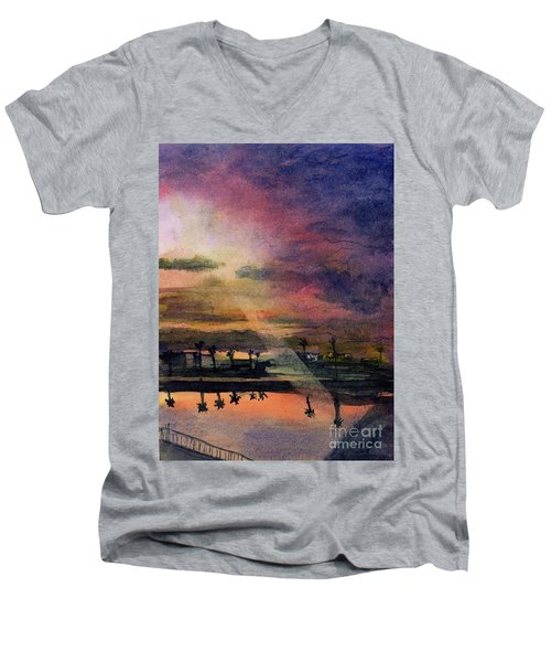 Brenda's Bay Men's V-Neck T-Shirt by Randy Sprout
