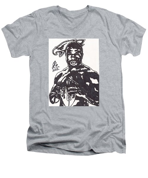 Men's V-Neck T-Shirt featuring the drawing Brian Westbrook by Jeremiah Colley