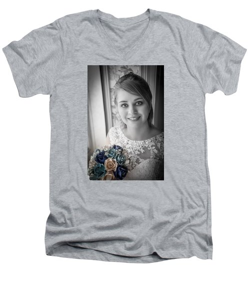 Bride At Window Men's V-Neck T-Shirt by Ray Congrove
