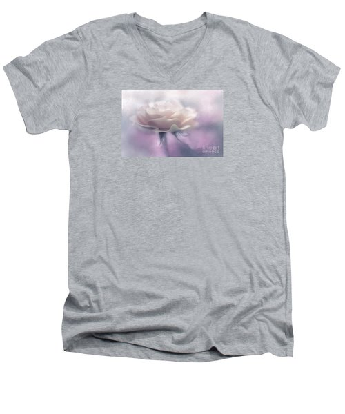 Bridesmaid Rose Men's V-Neck T-Shirt by Jean OKeeffe Macro Abundance Art