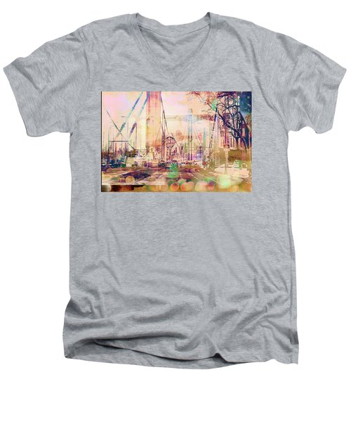 Men's V-Neck T-Shirt featuring the photograph Bridge And Grain Belt Beer Sign by Susan Stone