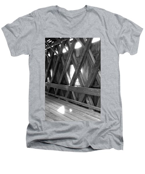 Men's V-Neck T-Shirt featuring the photograph Bridge Glow by Greg Fortier