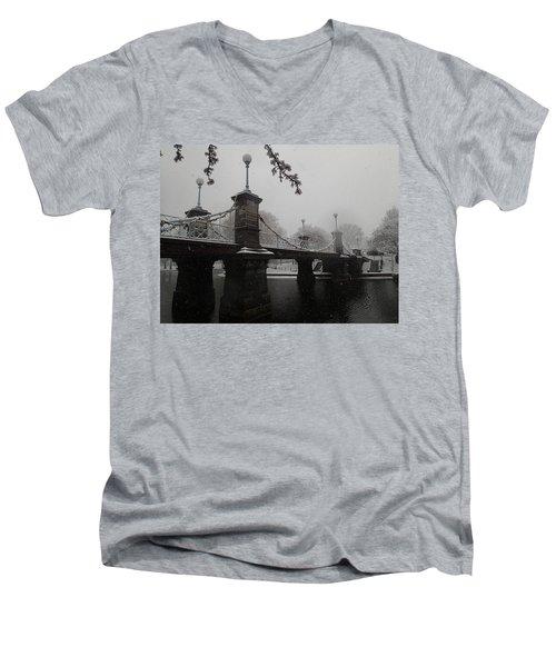 Bridge In Suspension 1867 Men's V-Neck T-Shirt by Robert Nickologianis