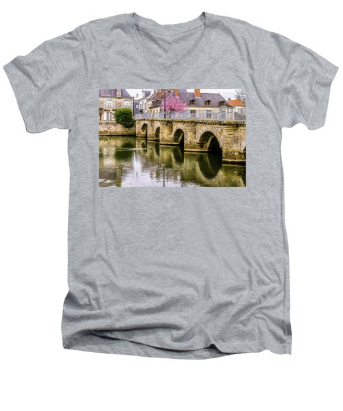Bridge In The Loir Valley, France Men's V-Neck T-Shirt by Menachem Ganon