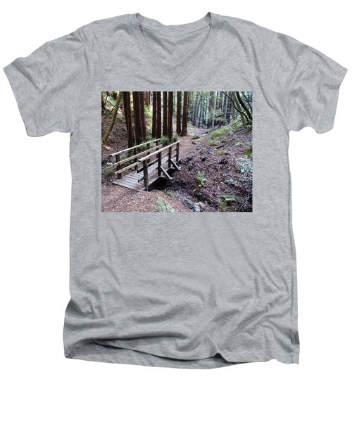 Bridge In The Redwoods Men's V-Neck T-Shirt