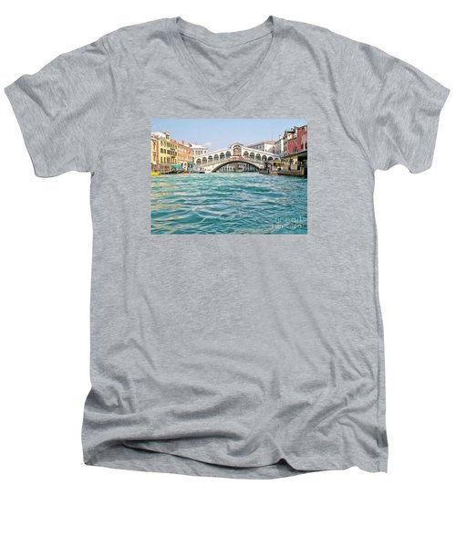 Men's V-Neck T-Shirt featuring the photograph Bridge In Venice by Roberta Byram