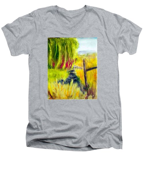 Men's V-Neck T-Shirt featuring the painting Bridge Over Small Stream by Sherril Porter