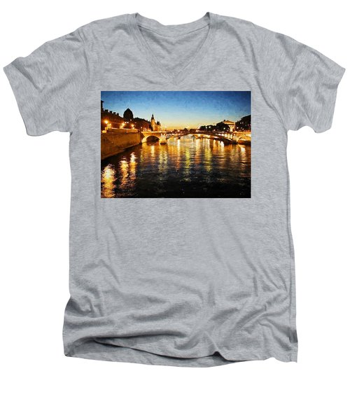 Bridge Over The Seine Men's V-Neck T-Shirt