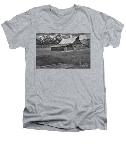 Bridge To The Barn Black And White Men's V-Neck T-Shirt by Adam Jewell