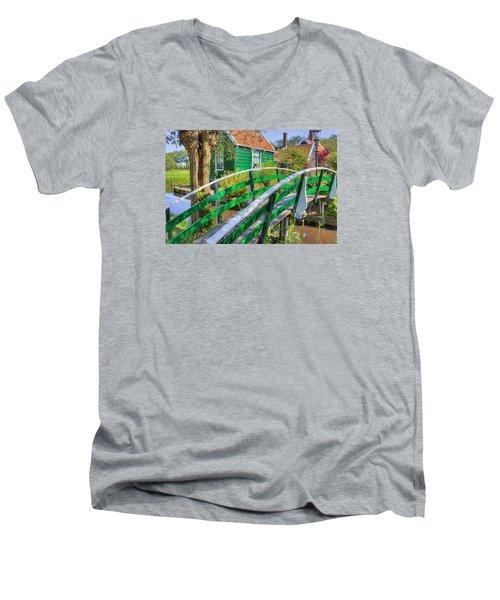 Bridge To The Village Men's V-Neck T-Shirt by Nadia Sanowar
