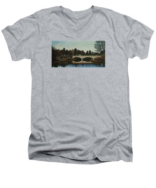 Bridges Of Forest Park Iv Men's V-Neck T-Shirt by Michael Frank