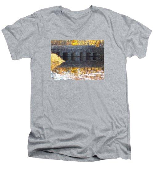 Bridges Reflection Men's V-Neck T-Shirt by Catherine Gagne