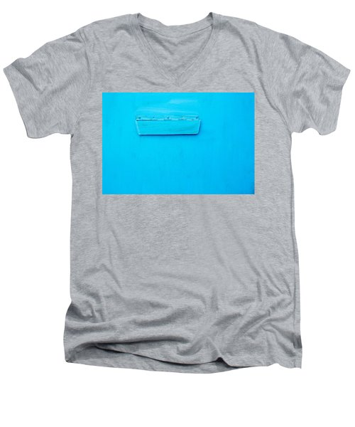Men's V-Neck T-Shirt featuring the photograph Bright Blue Paint On Metal With Postbox by John Williams
