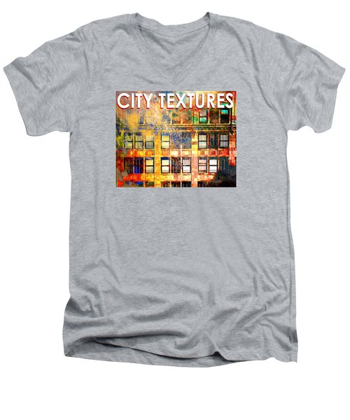 Men's V-Neck T-Shirt featuring the mixed media Bright City Textures by John Fish