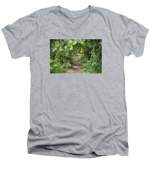 Bright Path In Leafy Forest Men's V-Neck T-Shirt
