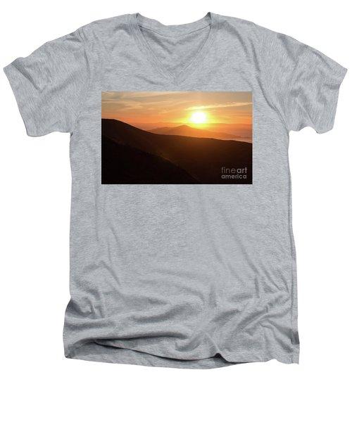Bright Sun Rising Over The Mountains Men's V-Neck T-Shirt