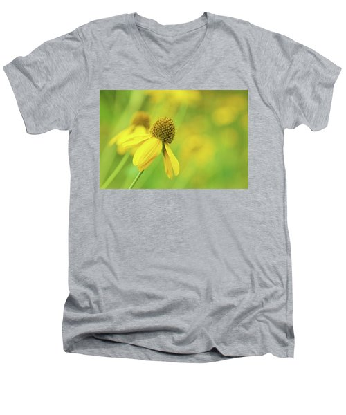 Bright Yellow Flower Men's V-Neck T-Shirt