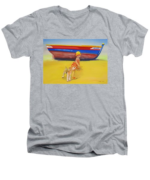 Brightly Painted Wooden Boats With Terrier And Friend Men's V-Neck T-Shirt by Charles Stuart