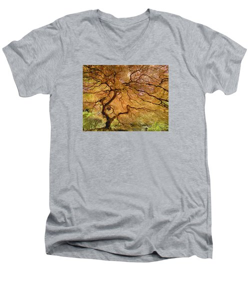 Men's V-Neck T-Shirt featuring the photograph Brilliant Japanese Maple by Wanda Krack