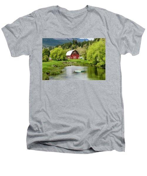 Brinnon Washington Barn By Pond Men's V-Neck T-Shirt by Teri Virbickis