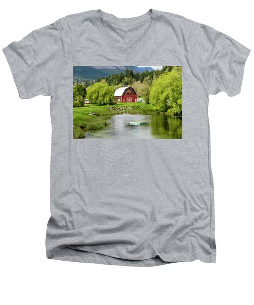 Brinnon Washington Barn By Pond Men's V-Neck T-Shirt
