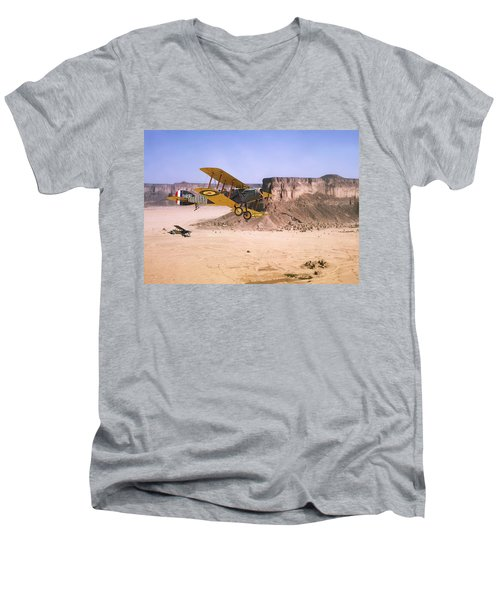 Men's V-Neck T-Shirt featuring the photograph Bristol Fighter - Aden Protectorate  by Pat Speirs