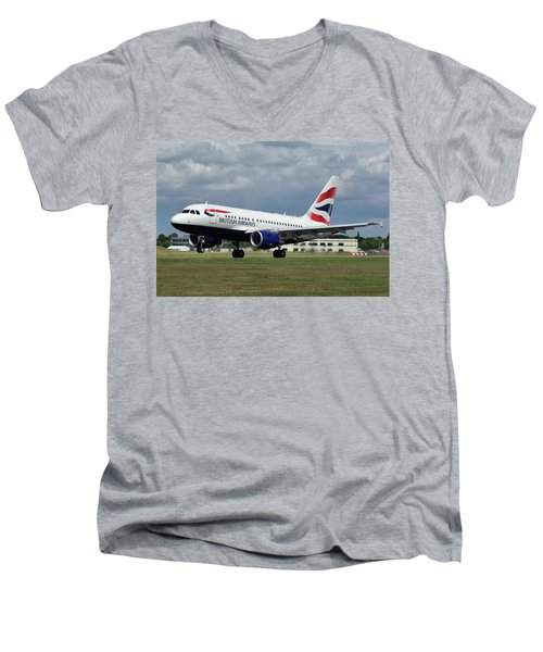 British Airways A318-112 G-eunb Men's V-Neck T-Shirt by Tim Beach