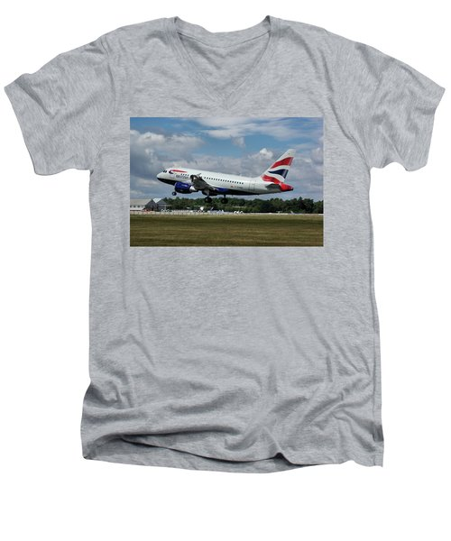 British Airways Airbus A318-112 G-eunb Men's V-Neck T-Shirt by Tim Beach