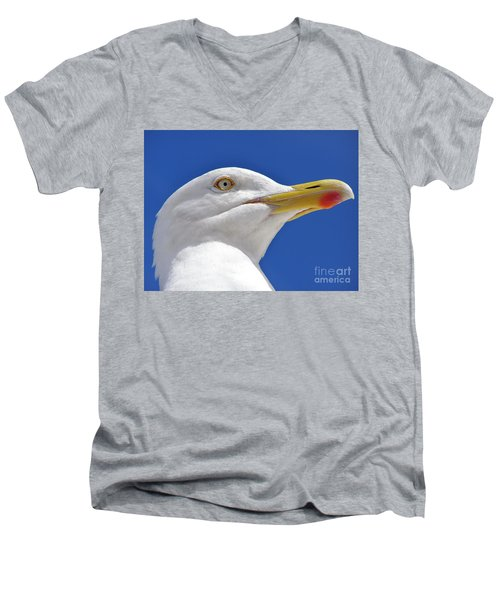 Men's V-Neck T-Shirt featuring the photograph British Herring Gull by Terri Waters