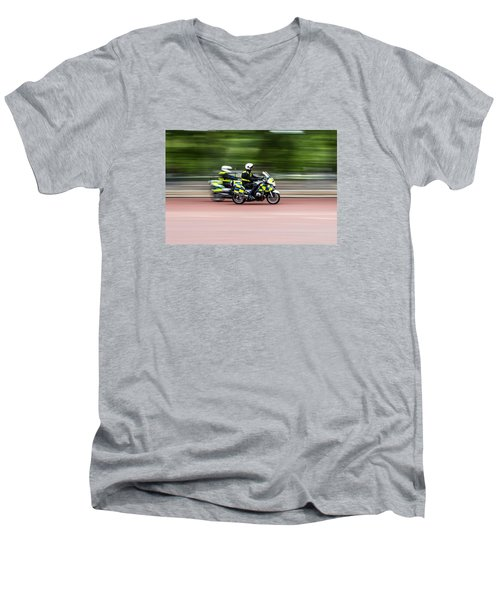 British Police Motorcycle Men's V-Neck T-Shirt