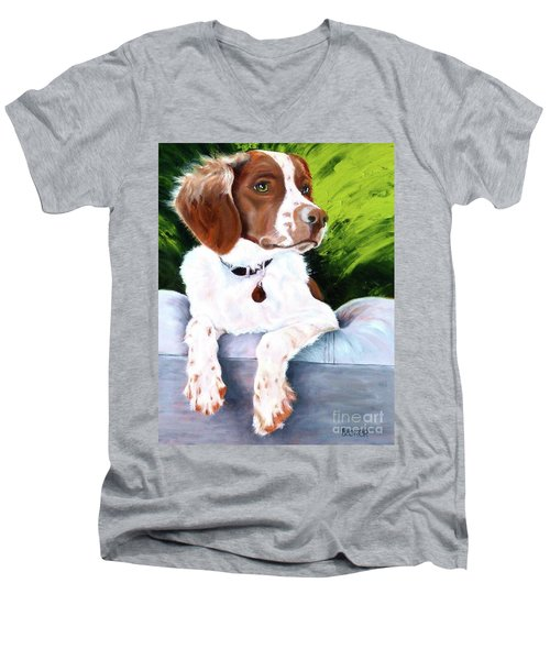 Brittany Spaniel Men's V-Neck T-Shirt