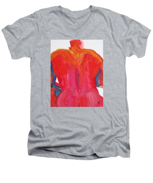 Broad Back Red Men's V-Neck T-Shirt by Shungaboy X