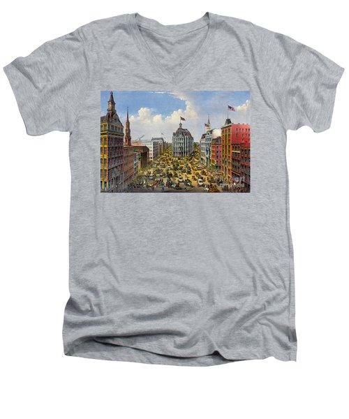 Broadway New York City 1875 Men's V-Neck T-Shirt by Padre Art