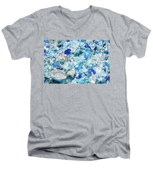 Broken Glass Blue Men's V-Neck T-Shirt