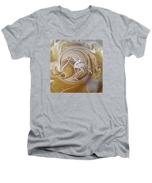 Broken Neck Flamingo Men's V-Neck T-Shirt by Gyula Julian Lovas