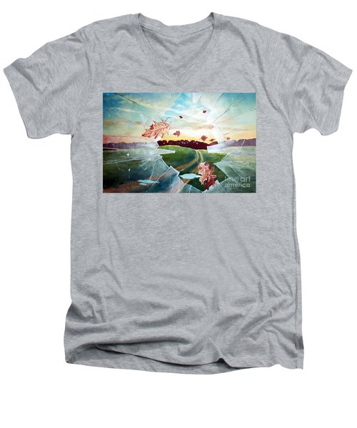 Men's V-Neck T-Shirt featuring the painting Broken Pane by Christopher Shellhammer